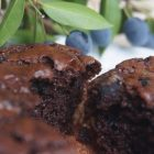 Gluten free chocolate muffins with myrtle berries from the garden